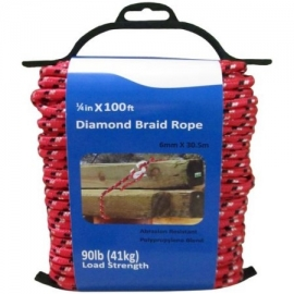 100' Diamond Braid Rope, Red, .25""