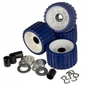 C.E. Smith Ribbed Roller Replacement Kit - 4-Pack - Blue